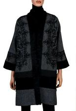 NEW ETRO LADIES CURRENT PAISLEY WOOL COAT WITH ASTRAKHAN FUR COLLAR 44/10
