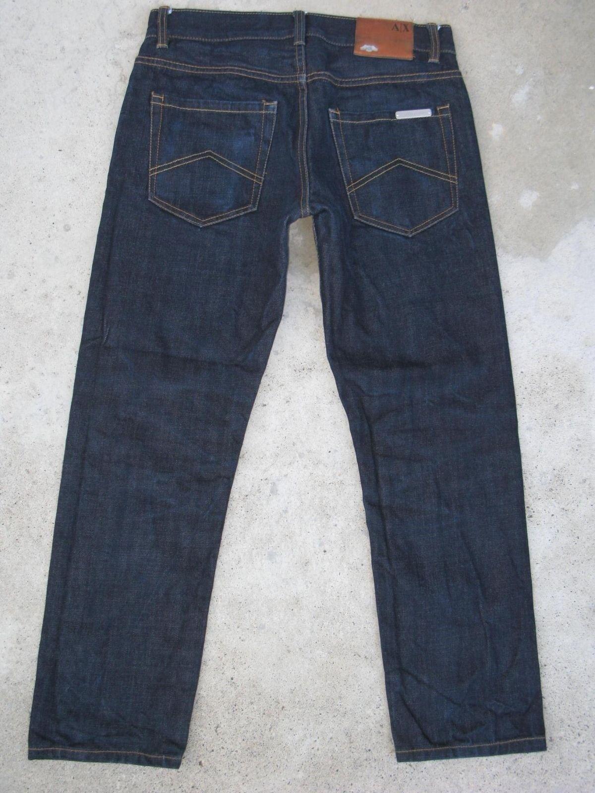 A X Armani Exchange Herren Kanten Jeans Sz 30 X 26 Gerade Dunkelblau  | Schöne Farbe