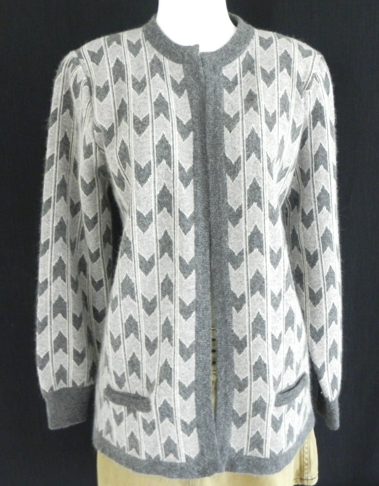 White, Wheeler, and Martha Wool Blend Sweater Cardigan Size M  Grey  Open Style