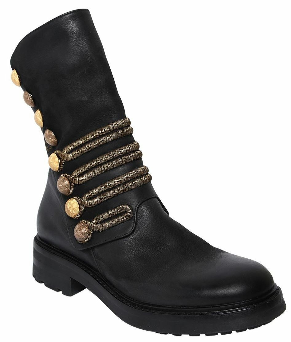 $850 Authentic Rare STRATEGIA Women's 30MM Military black leather Boots