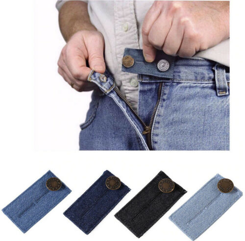 3PC Unisex Waist Band Pant Extender Button Trousers Jeans Skirts Maternity BLACK
