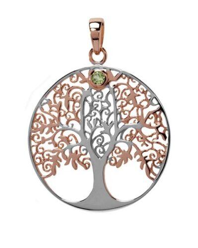 Anhänger Lebensbaum Rotgold Silber mit einem kleinen Peridot Symbolik für Kette