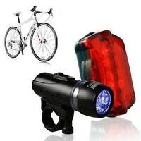 5 LED Lamp Bicycle Bike Front Head Light+ Rear Alarm light Set Waterproof New