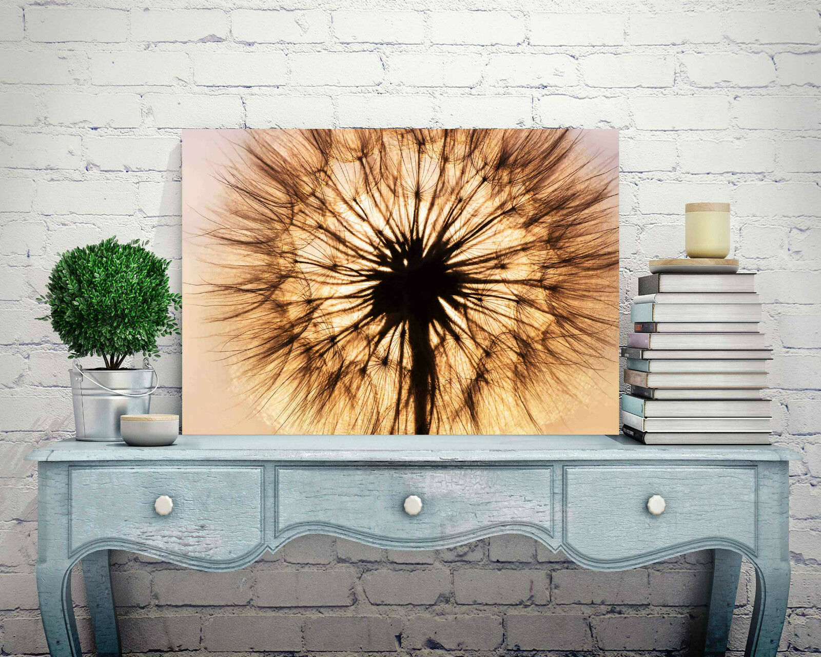 STUNNING ABSTRACT DANDELION FLOWER SUNSET #823 CANVAS PICTURE WALL ART A1
