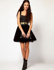 River Island Velvet Skirt Dress With Embellished Belt UK 10 /EU 38/US 4  zz`1