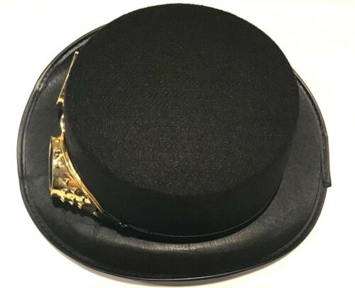 BLACK STEAMPUNK TOP HAT With Gold Goggles Magician Adult Punk Goth Magic Felt