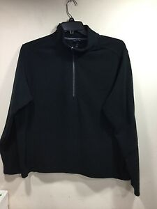 Lands-End-men-039-s-size-large-black-fleece-zipper-neck-jacket