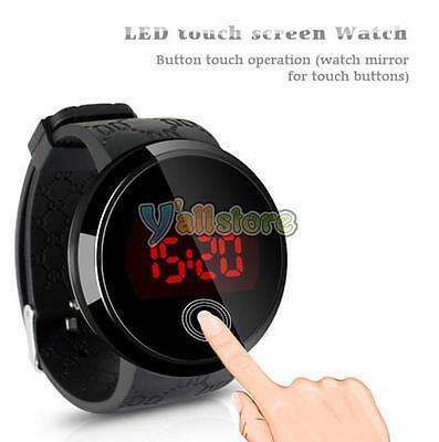 Fashion Men's Touch Screen Circular Pattern Silicone LED Sport Wrist Watch Black