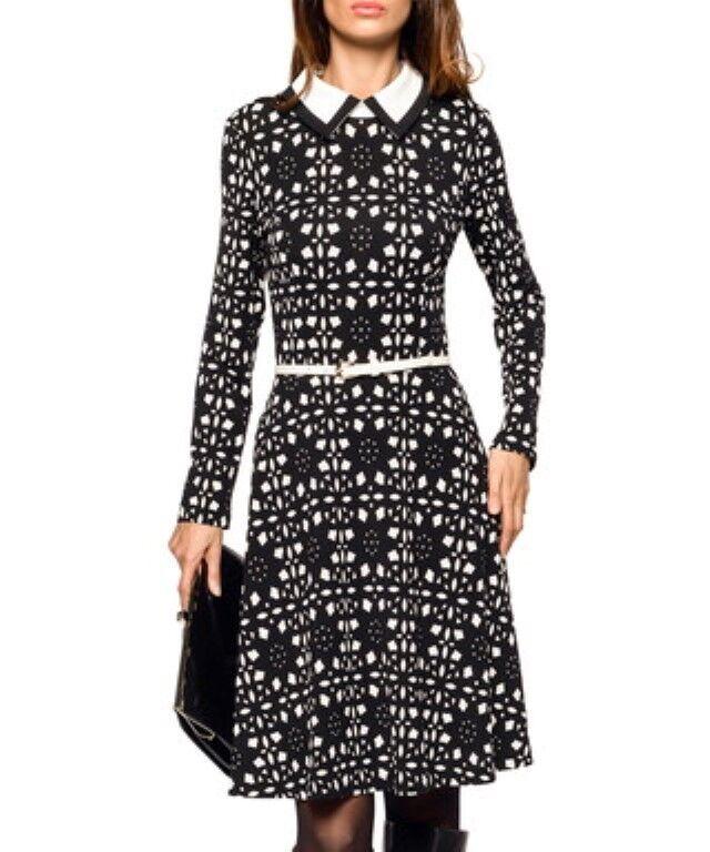 Iren Klairie schwarz schwarz schwarz Weiß Wool Blend Skater Dress Größe UK 14 LF078 AA 09 96faa7