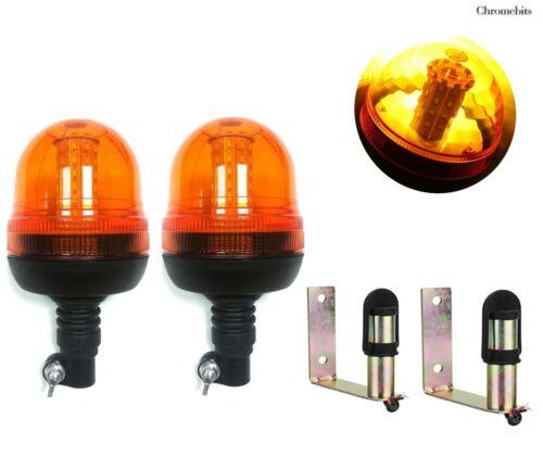 2X Led Rotating Amber Strobe Beacon Road Assistance Lights Din Pole Spigot Mount