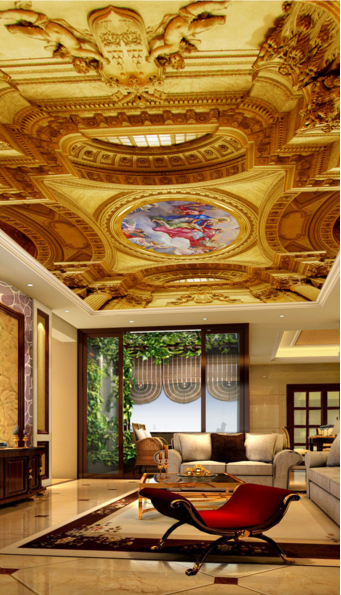 3D Golden Roof 47 Ceiling WallPaper Murals Wall Print Decal Deco AJ WALLPAPER UK