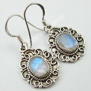 925-Solid-Silver-Rainbow-Moonstone-Dangle-Earrings-1-3-034-Gemstone-Jewelry