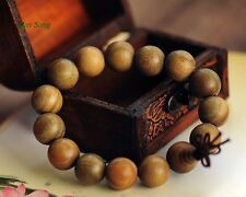Green Sandalwood Wrist Mala 15MM Prayer Bead Bracelet Stretch