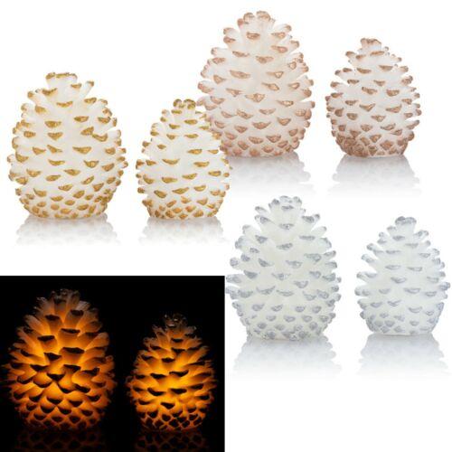 Batterien,LED Kerze 2er Set XL Tannenzapfen Dekoration mit LED Beleuchtung inkl