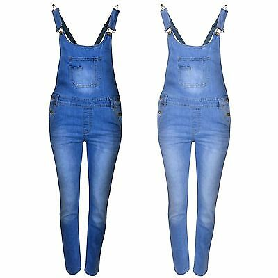 New Womens Kids Girls Stretch Denim Long Playsuit Jumpsuit Dungaree Jeans