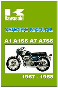 Details about KAWASAKI Workshop Manual A1 A1SS A7 A7SS 1967 & 1968 on