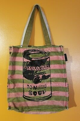 Andy Warhol Campbells Tomato Soup Purse Bag Tote Green Pink Disstressed Canvas Ebay