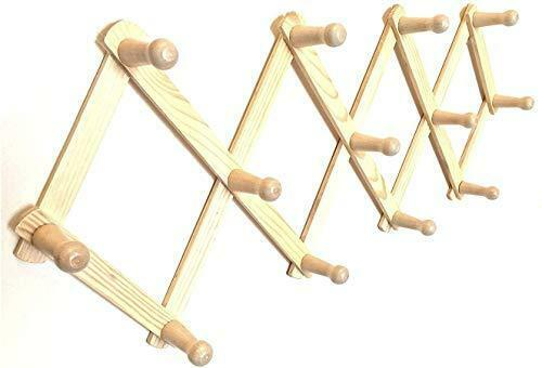 13 Hooks Pegs For Hat Cap, Accordion Style Expandable Wall Wooden Coat Rack