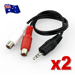 2x-3-5mm-AUX-Male-to-2-RCA-Female-Splitter-Cable-Stereo-Audio-AV-Adapter-Cord