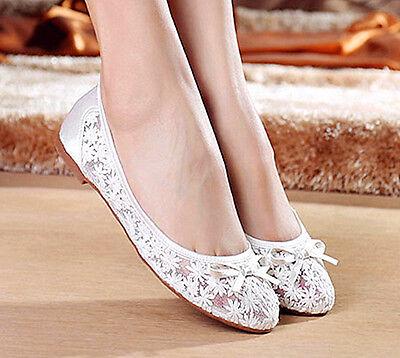 Navy/royal blue silk satin lace mush flat ballet bow Wedding shoes Bridal size