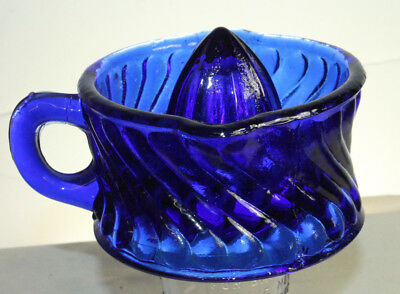 1//2 Cup Glass Cobalt Blue Reverse Swirl Handled Lime or Lemon Juicer Reamer Cup