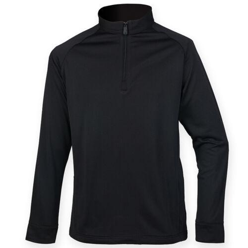 Henbury Men/'s 1//4 Zip Pullover Sweatshirt Warm Wicking Finish Lightweight Jumper