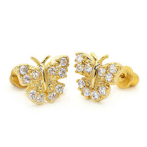 14k gold earrings for toddlers 14k gold plated pave butterfly children back baby 6585