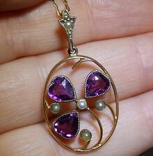 ANTIQUE ART NOUVEAU  9CT YELLOW GOLD HEART SHAPED GARNET PEARL  CLOVER PENDANT