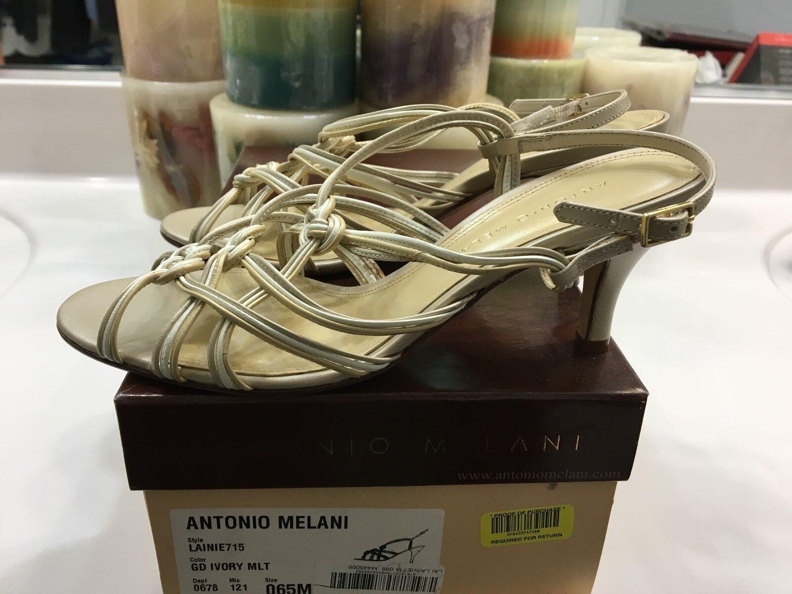 Antonio Melani Gold Ivory Lainie 715 Strappy Pumps NWOB (U.S. Size 6.5 M)