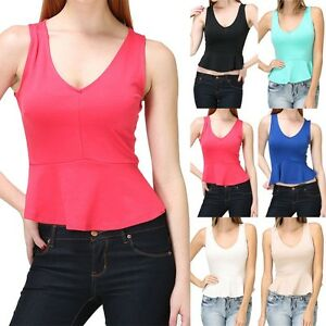 V-Neck-Peplum-Cropped-Tank-Top-Sleeveless-Solid-Cute-Polyester-Rayon-Span-S-M-L