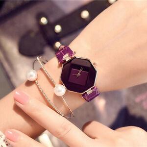 LUSSO-Donne-fascia-di-cuoio-diamante-cristallo-di-quarzo-analogico-orologio-da-polso-orologi