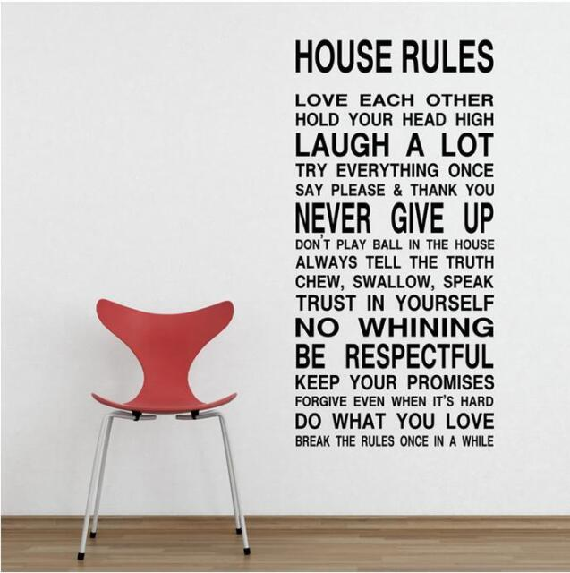 Wall Quote Art Decal Vinyl Sticker Removable Decor FAMILY HOUSE RULES PROMISE #3