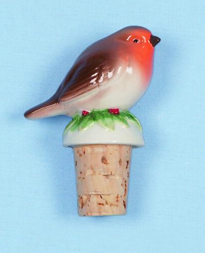 Adorable Robin posadas sobre una botella de corcho Stop-Perfecto Navidad Decoración PR078