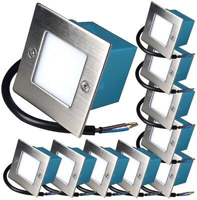 10er Set LED Stufeneinbauleuchten Wandstrahler Leon 230V 1.5W IP54 Terrassenspot