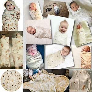 2er-Babydecke-Tortilla-Burrito-Wickeldecke-Hut-Weich-Pfannkuchen-Pucksack-Tuch