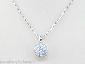 14Carat-White-Gold-Diamond-Cluster-Pendant-Box-Chain-Necklace-0-25cts-GSI1-17-034-in