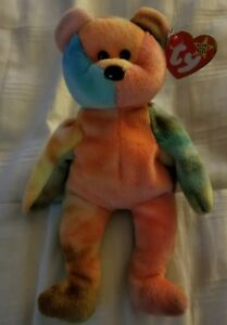 b478f8f2cd5 TY Beanie Baby RARE GARCIA the Tie-Dyed Bear Orange 1993 ...