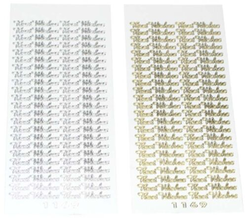 PEEL OFF CRAFT STICKERS TWO Sheets Good Quality BEST WISHES peeloffs