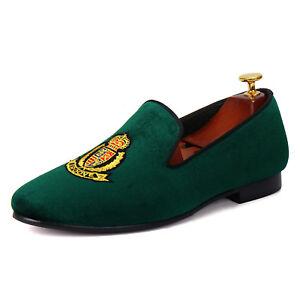 Harpelunde-Motif-Men-Velvet-Loafers-Green-Slip-On-Wedding-Shoes-Size-6-14