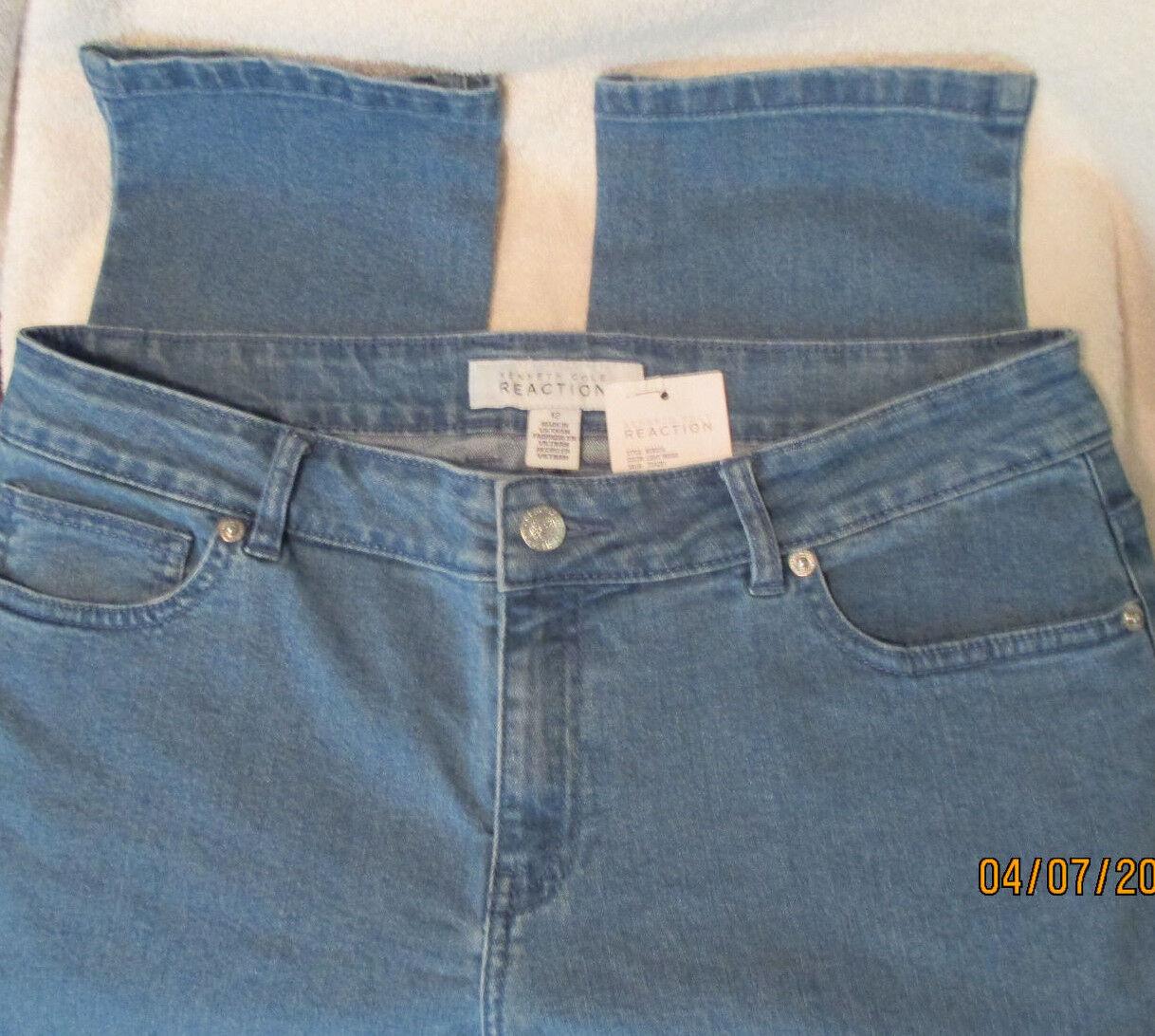 NWT  KENNETH COLE REACTION  Lt.Indigo, Cotton Blend, Skinny Crop,Jeans, 10R
