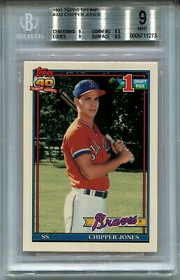 1991 Topps Tiffany Baseball 333 Chipper Jones Rookie Card Rc Bgs 9 Ebay