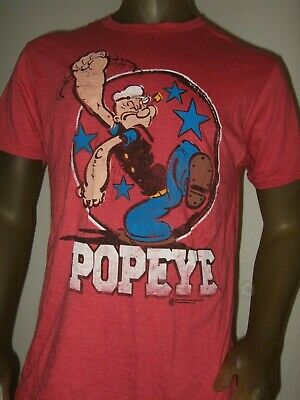 Men/'s M-2X Popeye The Sailor Man Muscle Cartoon Character Fist Stars Red T Shirt