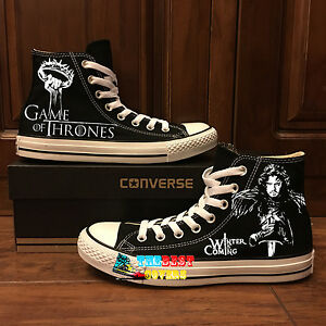 306bc743d7bc3 CONVERSE All Star GAME OF THRONES fantasy Tv series hand painted ...