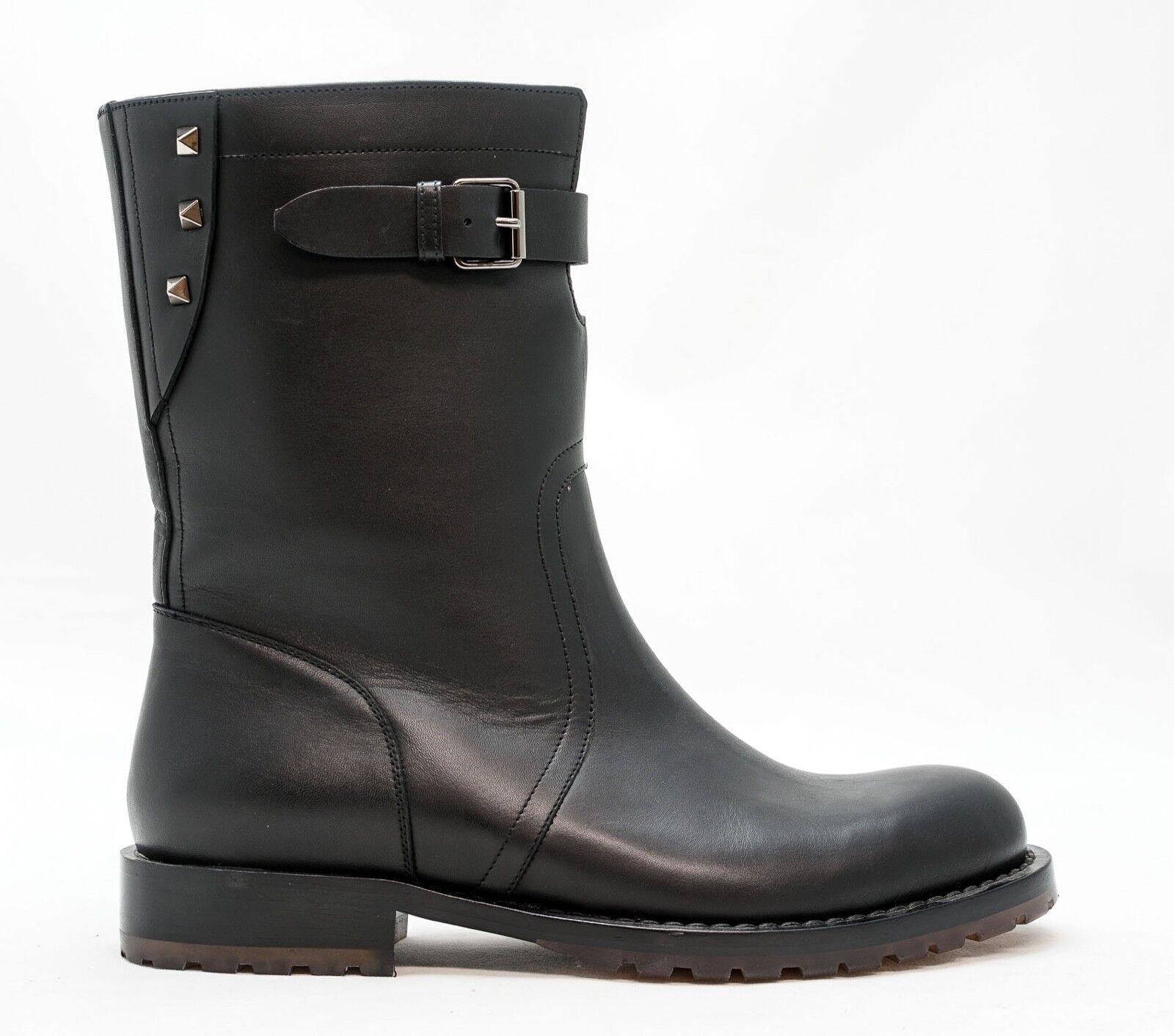 New in Box Valentino Men's nero Leather Buckle avvio JYOS0890 40 Last Dimensione