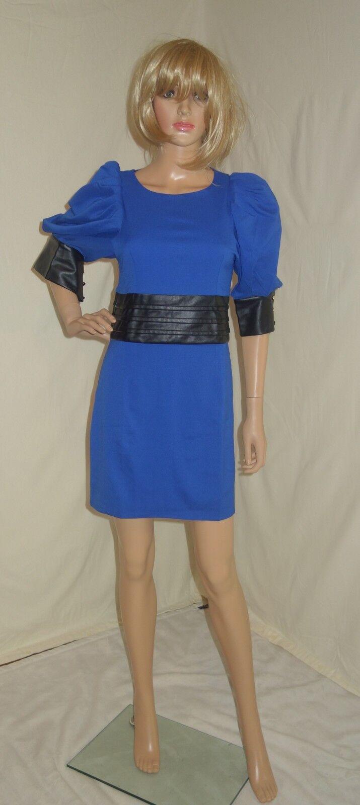 Gracia PUFF Sleeve Mixed Media Blau schwarz Dress Größe M NEW