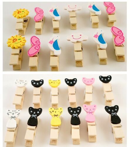 Cute Cat Kitty Weather Cloud Bird Wooden Paper Photo Clips DIY Home Deco Hanging