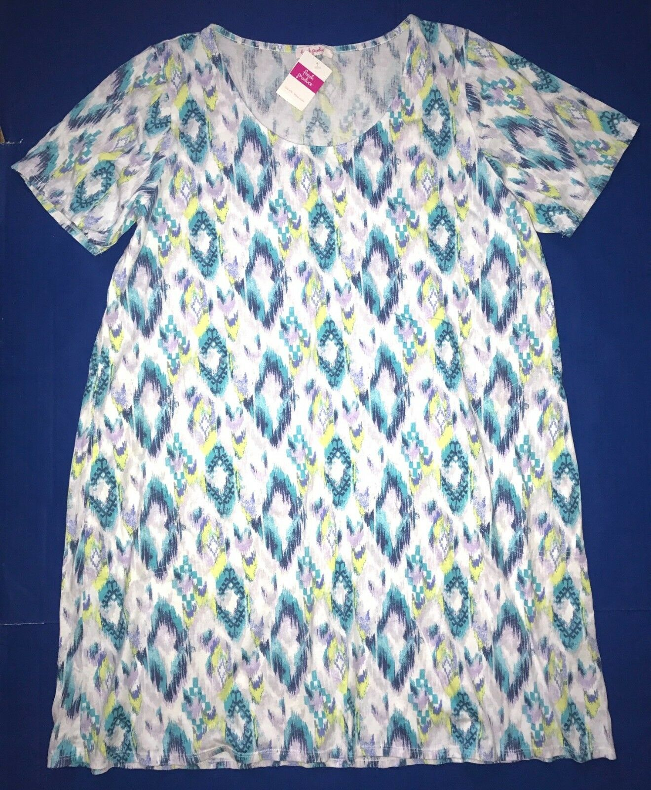 FRESH PRODUCE 1X White SUNSET SKY ALLURE Jersey Tee Shirt Dress NWT New 1X