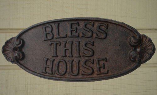 New Cast Iron Bless This House Sign Welcome Wall Plaque Rustic Front Door Decor