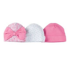 a4b8245171d Gerber Girl 3-Pack Pink Flower Polka Dot Caps Hats Size NB  Baby ...