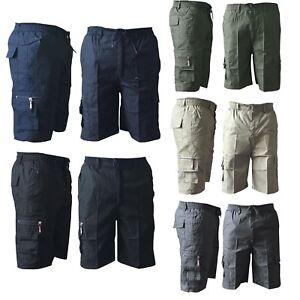 Mens-Elasticated-Plain-Lightweight-Cotton-Cargo-Gym-Work-Shorts-Pants-All-Sizes